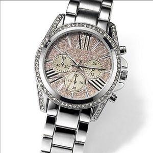 New York & Co Stainless Steel Rhinestone Watch